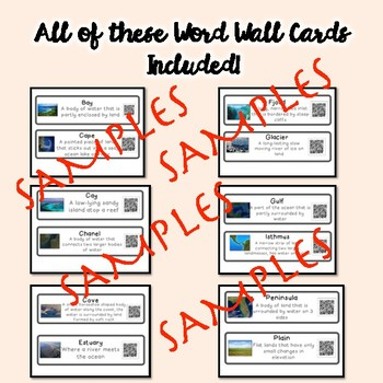 QR Coded Word Wall-Geography & Landforms