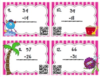 QR Coded two digit and three digit subtraction