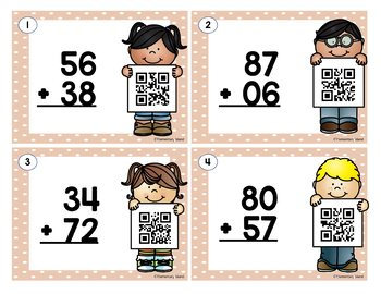 Two Digit Addition Task Cards - QR Codes or Scoot Task Cards