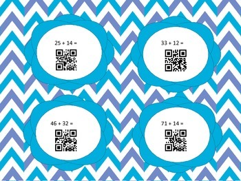 QR Codes  2 Digit Addition without Regrouping Center Activity