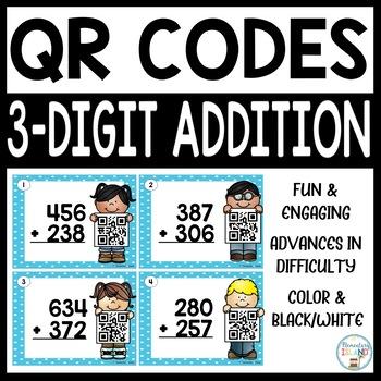 QR Codes 3-Digit Addition Task Cards - QR Codes Scoot Task Cards