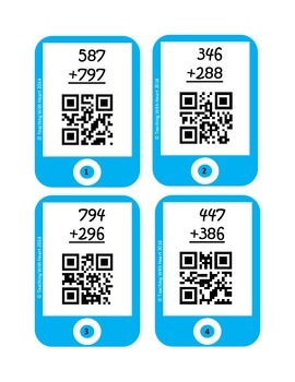 QR Codes 3 Digit Addition Task Cards [Self Checking]
