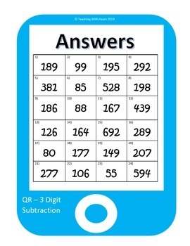 QR Codes 3 Digit Subtraction Task Cards [Self Checking]