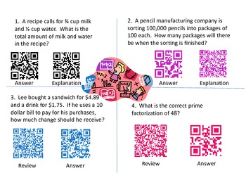 QR Codes - 6th grade Math iLEAP test review Numbers and number relations