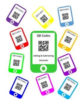 QR Codes Adding Decimals and Subtracting Decimals Task Cards