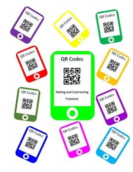 QR Codes Adding Fractions and Subtracting Fractions Task Cards