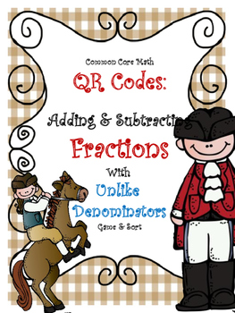 Adding & Subtracting Fractions - Unlike Denominators Game: QR codes included