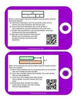 QR Codes Addition & Subtraction Strip Diagrams (Tape Diagrams)