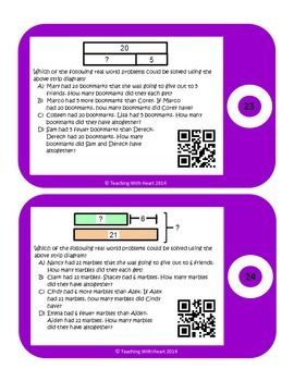 QR Codes Addition & Subtraction Strip Diagrams (Tape Diagrams)