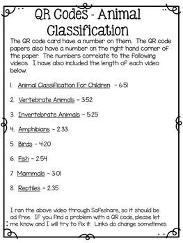 QR Codes - Animal Classification
