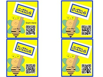 QR Codes Bee a Word Family Detective -ame -ate -ake -oke