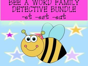 QR Codes Bee a Word Family Detective -et -est -eat