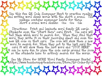 QR Codes Bee a Word Family Detective -ine -ice -ide