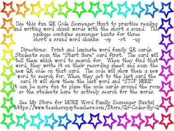 QR Codes Bee a Word Family Detective -op -ot -ug
