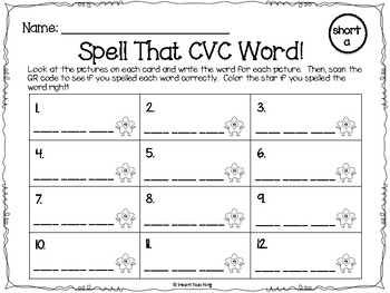 QR Codes CVC Words: Find, Write, and Scan