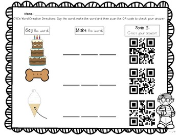 QR Codes: CVC and CVCe Word Creation Literacy Center_Full Page Edition