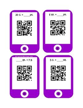 QR Codes Capacity Conversion Task Cards - U.S. Customary