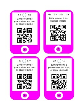 QR Codes Comparing Decimals and Ordering Decimals Task Cards
