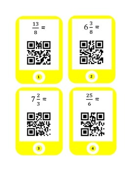QR Codes Converting Improper Fractions and Mixed Numbers Task Cards