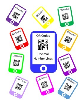 QR Codes Decimal Number Lines Task Cards
