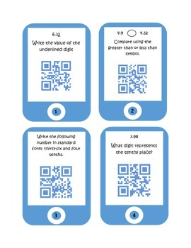 QR Codes Decimal Place Value Task Cards
