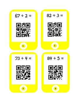QR Codes Division Task Cards (2 by 1 with Remainders)