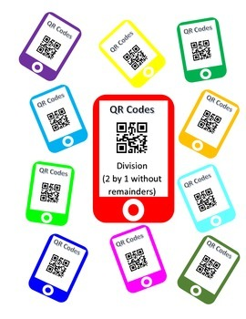 QR Codes Division Task Cards (2 by 1 without Remainders)