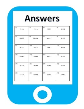QR Codes Division Task Cards (3 by 1 with Remainders)