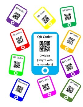 QR Division Task Cards (3 by 1 with Remainders)
