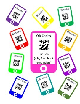 QR Codes Division Task Cards (4 by 1 without Remainders)