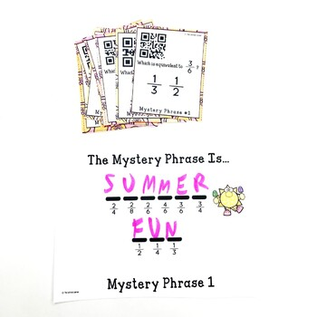 QR Codes Equivalent Fractions Summer Game