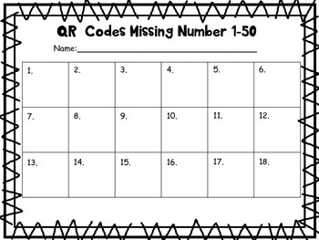 QR Codes Find the Missing Number Strips (1-50)