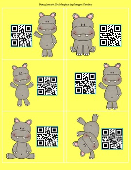QR Codes Hippos - Student Numbers