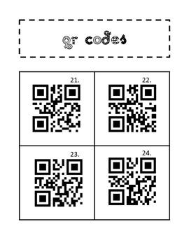 QR Codes: I Spy QR Codes Spanish Word Detective palabras 21-40