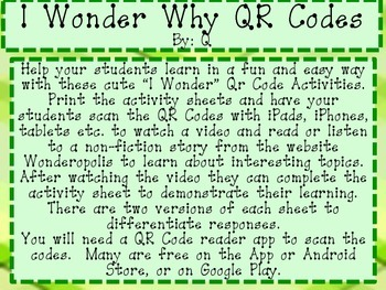 QR Codes I Wonder Why?
