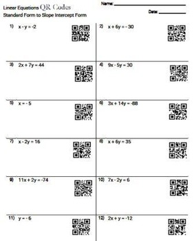 QR Codes Linear Equations Standard to Slope Intercept Worksheet Practice