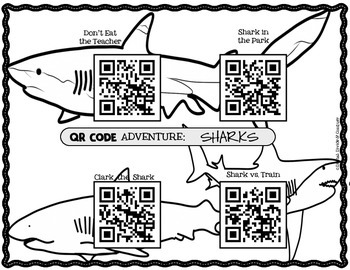 QR Codes Listening Centers: SHARKS! 4 Read Aloud Books