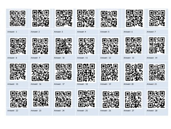 QR Codes: Math Answers (1-100 plus more!) Copy and Paste Codes