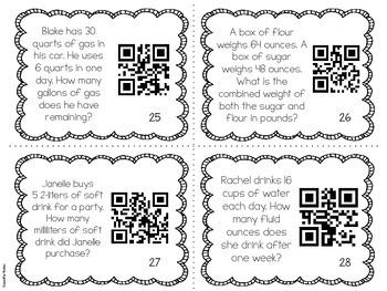 QR Codes Math Task Cards: Measurement Conversion Word Problems