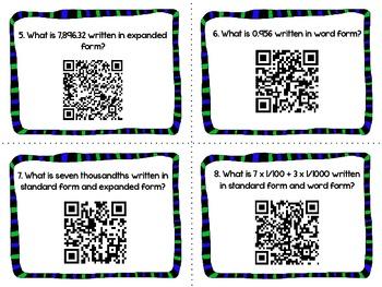 QR Codes Math Task Cards: Writing Decimals