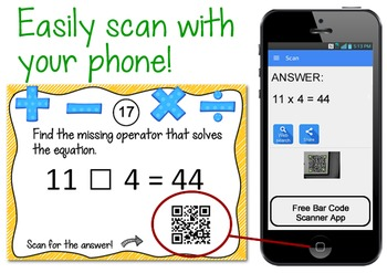 QR Codes: Math Task Cards {missing numbers & operators}