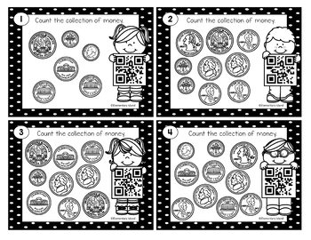 QR Codes Money Task Cards - QR Codes Scoot Task Cards