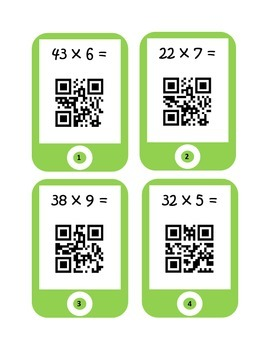 QR Codes Multiplication Task Cards (2 by 1)
