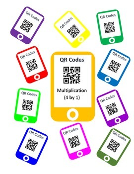 QR Codes Multiplication Task Cards (4 by 1)