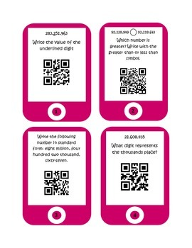 QR Codes Place Value Task Cards