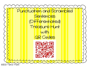 QR Codes Punctuation and Scrambled Sentences Treasure Hunt (Differentiated)
