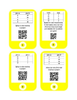 QR Codes Related Data in a Table Task Cards