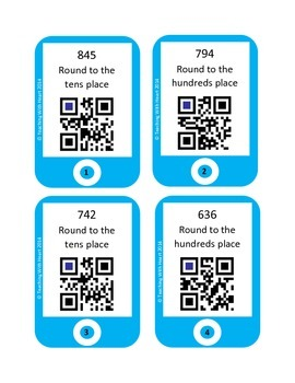 QR Codes Rounding Task Cards - Hundreds Place