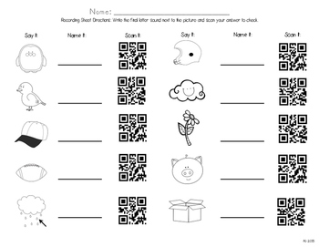 QR Codes: Say It, Name It, Scan It- Final Letter Sound Identification