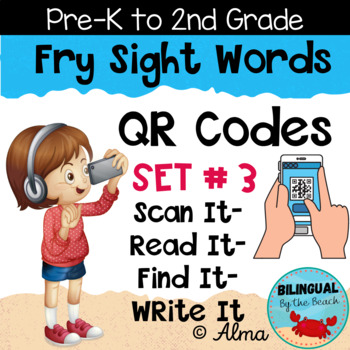 QR Codes Scan It-Read It-Find It-Write It- Fry Sight Words Set 3